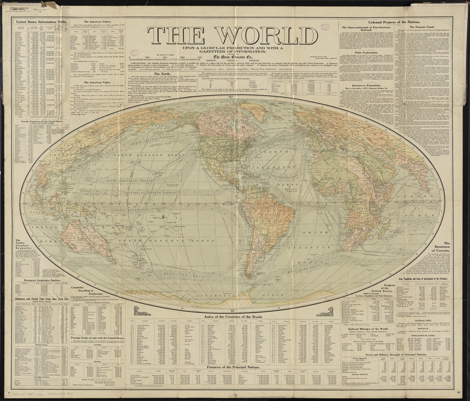 The World Upon Globular Projection And With A Gazetteer Of - Us Map Globular Projection