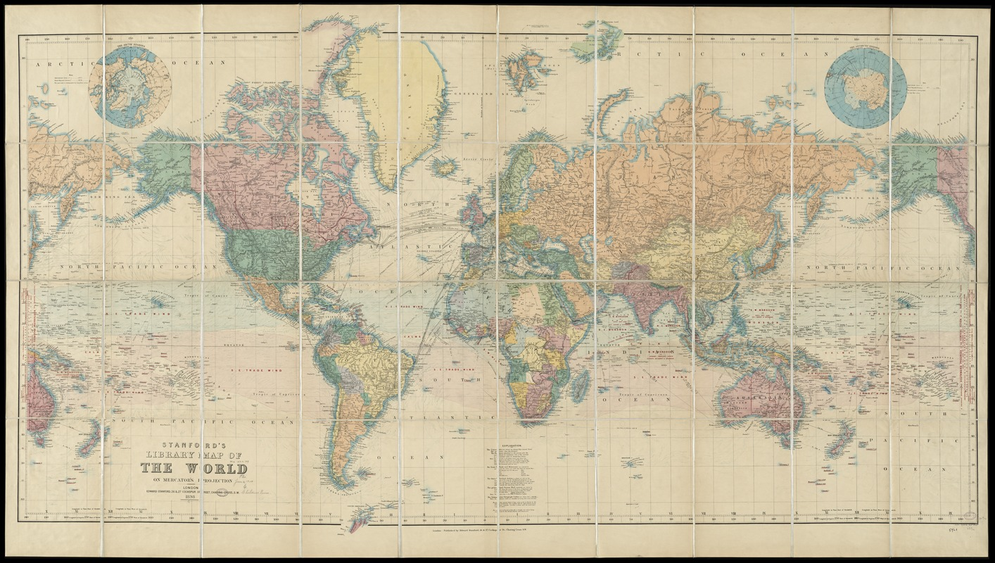 Stanford\'s library map of the world on Mercator\'s projection ...