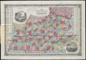 Map of Kentucky and Tennessee