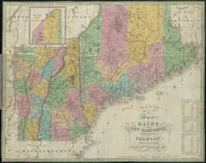 Map of Maine, New Hampshire, and Vermont