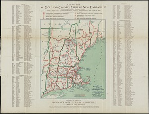 Hodgman's new map showing location and classification golf and country clubs of New England with automobile roads and distances