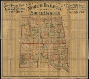 The National Publishing Company's new railroad, post-office and county map of North Dakota and South Dakota