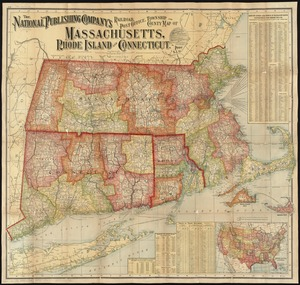 The National Publishing Company's railroad, post office, township and county map of Massachusetts, Rhode Island and Connecticut