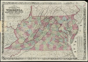 Colton's new topographical map of the states of Virginia, Maryland & Delaware, showing also eastern Tennessee & parts of other adjoining states