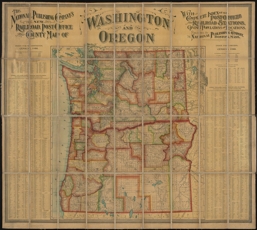 The National Publishing Company's new railroad, post-office and county map of Washington and Oregon