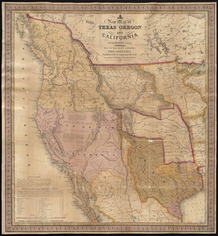 A new map of Texas, Oregon, and California with the regions adjoining