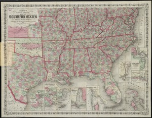 Colton's rail road and county map of the Southern States containing the latest information