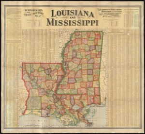 Scarborough's new county and post office map of Louisiana and Mississippi
