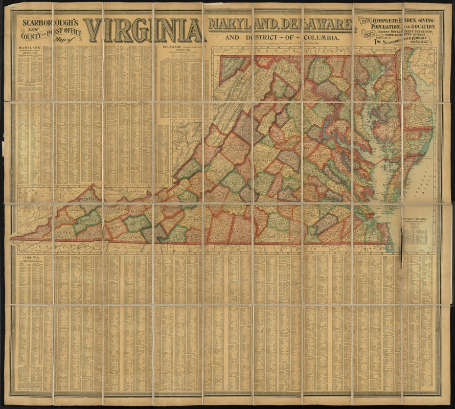 Scarborough's new county and post office map of Virginia, Maryland, Delaware, and District of Columbia
