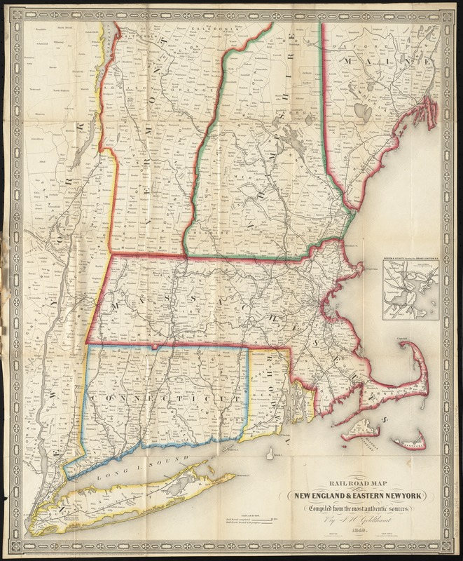 Railroad map of New England eastern New York complied from the