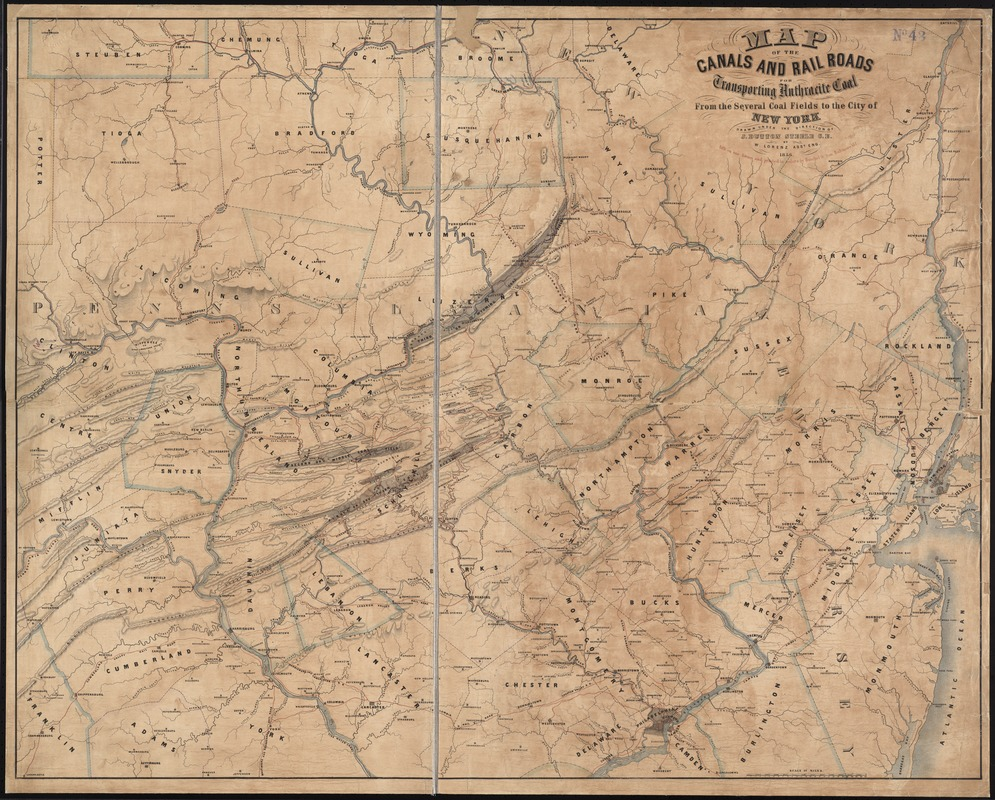 Map of the canals and rail roads for transporting anthracite coal from the several coal fields to the city of New York