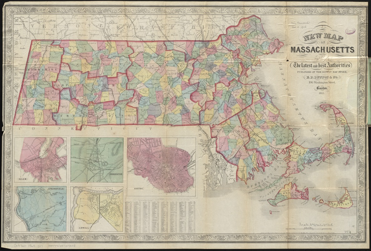 New map of Massachusetts compiled from the latest and best authorities