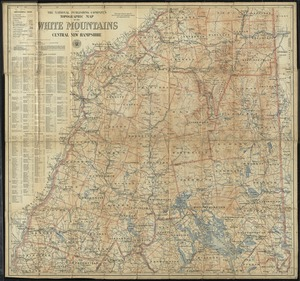 The National Publishing Company's topographic map of the White Mountains and central New Hampshire