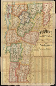 Complete map of Vermont showing highways & natural features with an index of all cities, villages, post-offices and railroad stations