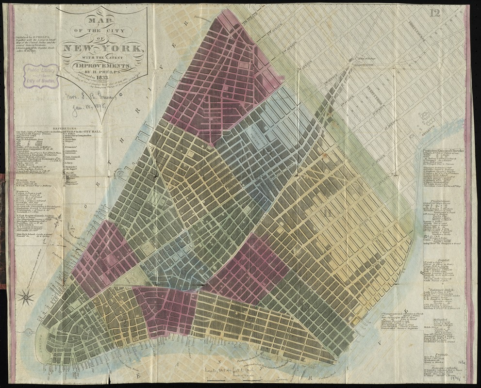 Map of the city of New York, with the latest improvements
