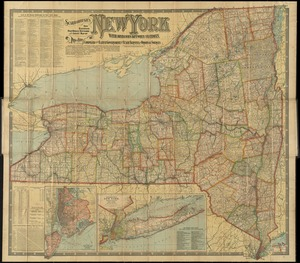 Scarborough's new railroad, post office, township and county map of New York with distances between stations
