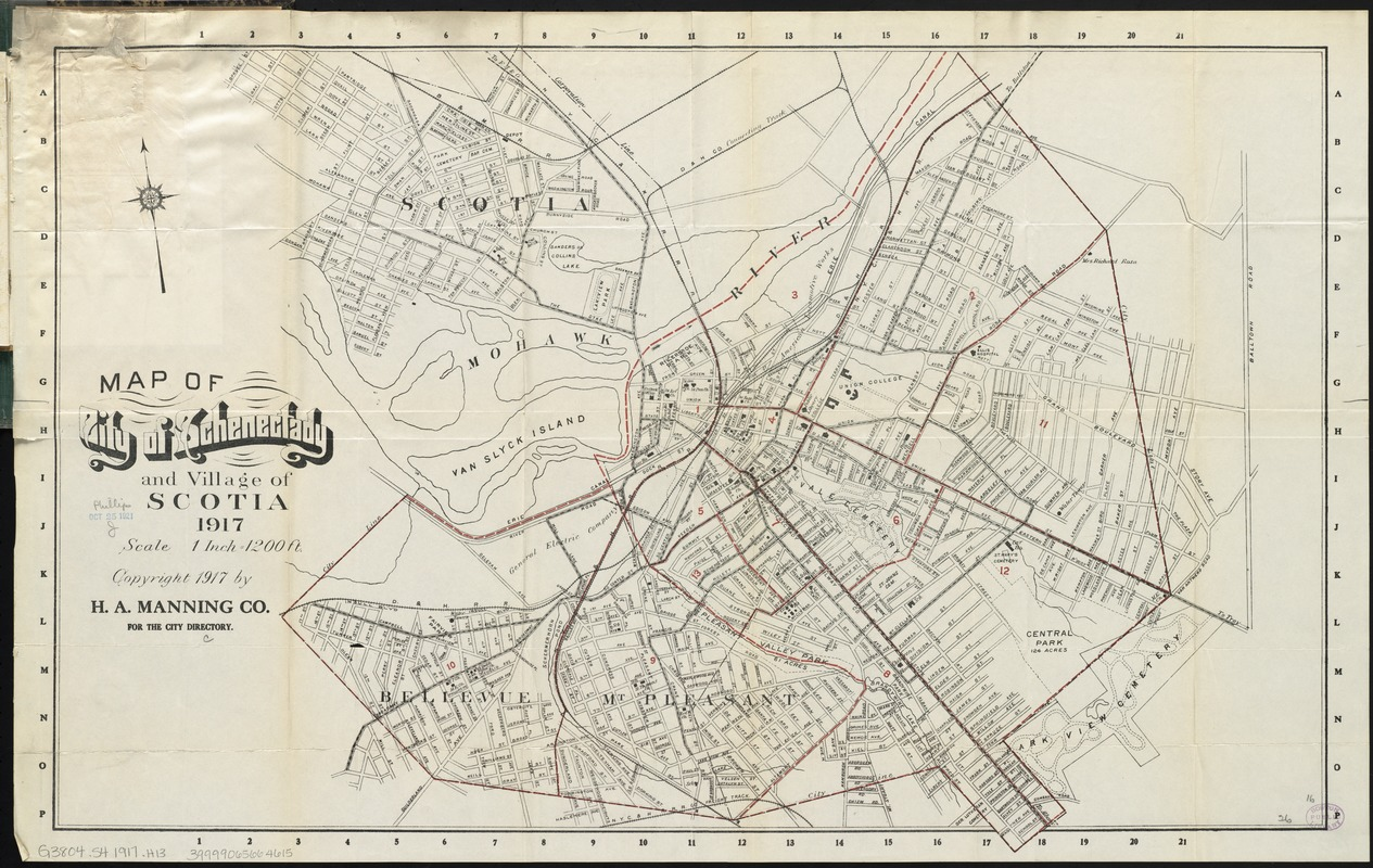Map of city of Schenectady and village of Scotia 1917 Digital
