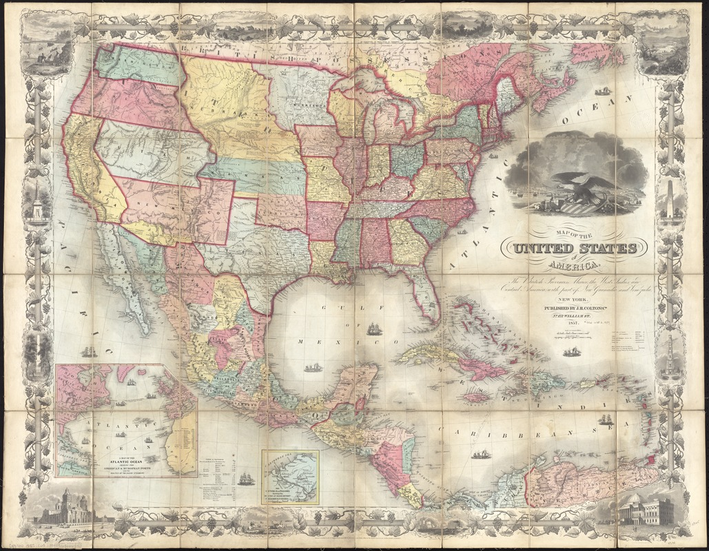 map of the united states of america the british provinces mexico the west indies and central america with part of new granada and venezuela