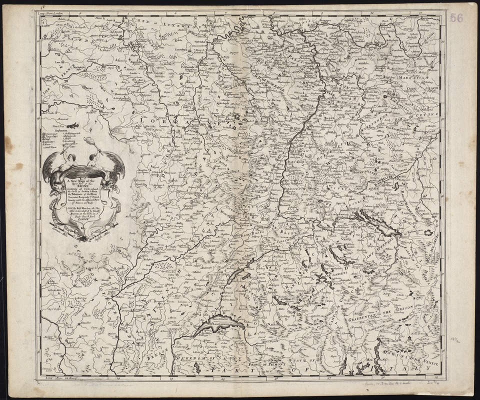 A new mapp of the upper part of the Rhine containing all Switzerland the circle of Swabia Alsatia the Palatine of the Rhine Lorraine Burgundy ye French County with the adjacent parts of France and Italy