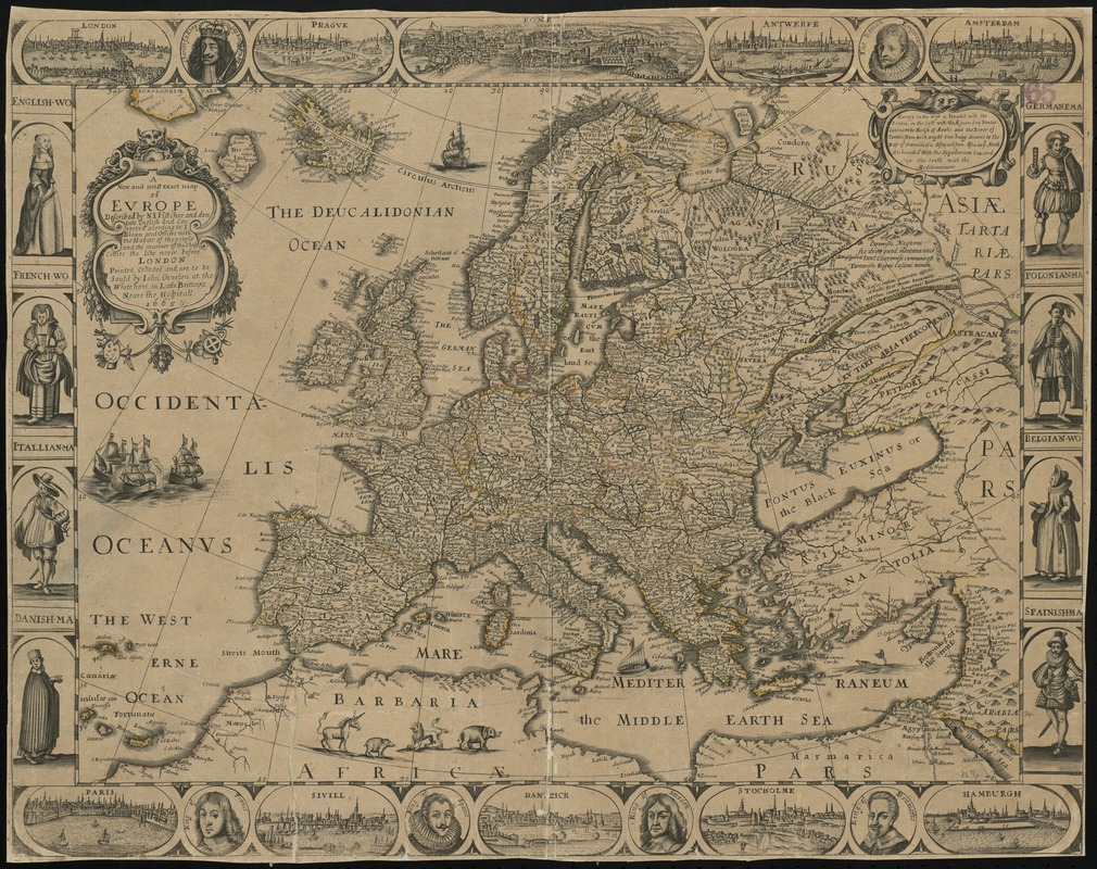 A new and most exact map of Europe described by N.I. Visscher and don into English and corrected according to I Bleau and others with the habits of the people and the manner of the cheife citties the like never before