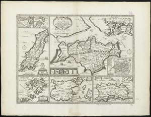 A map of the Isle of Wight Portsea Halinge, also the islands of Iarsey & Garnsey which are part of Hampshire