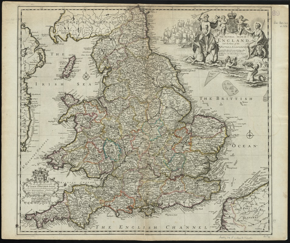 The natural shape of England with the names of rivers, seaports, sands, hills, moors, forrests, and many other remarks which the Curious will observe