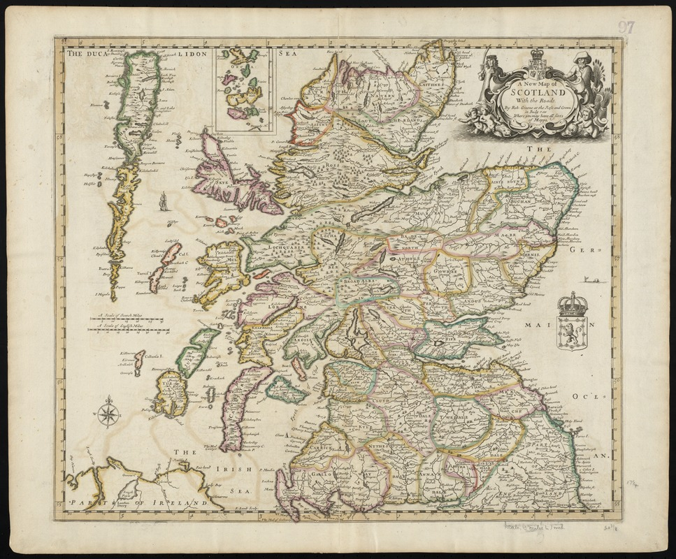 A new map of Scotland with the roads