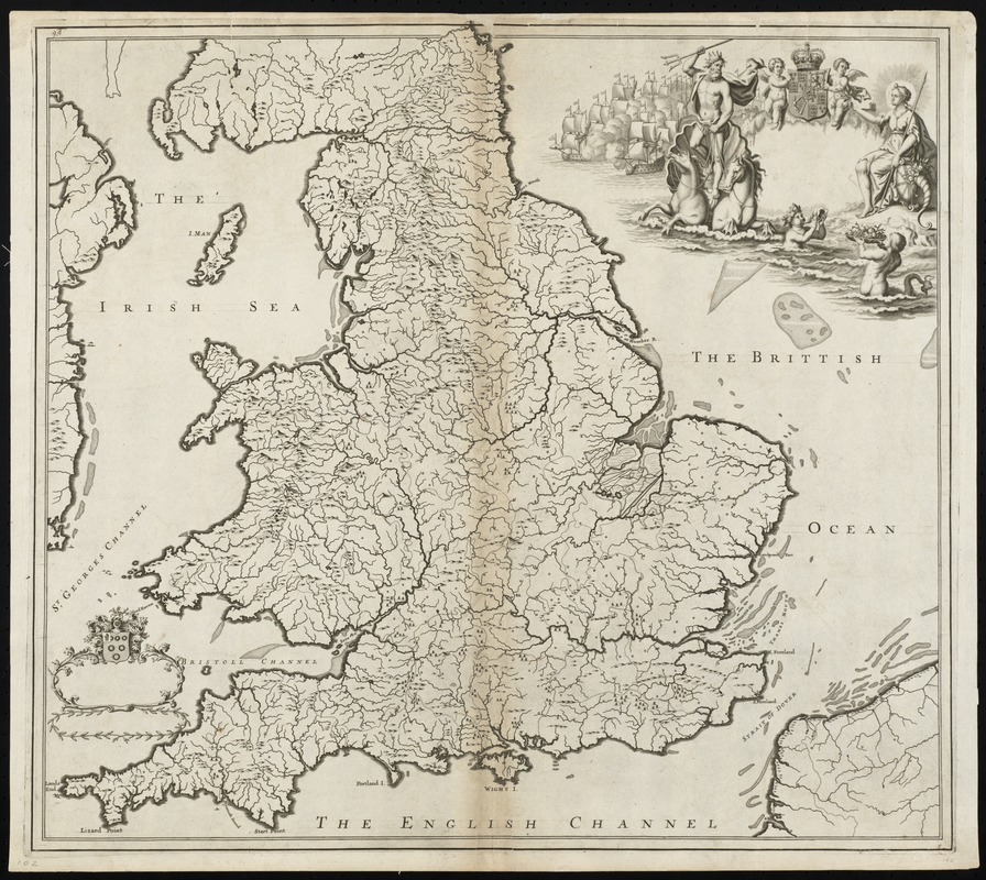 [The natural shape of England with the names of rivers, seaports, sands, hills, moors, forrests, and many other remarks which the Curious will observe