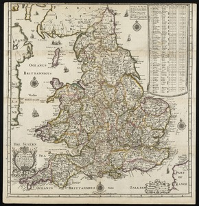 A new map of England and Wales with the direct and cros roads also the number of miles between the townes on the roads by inspection in figures