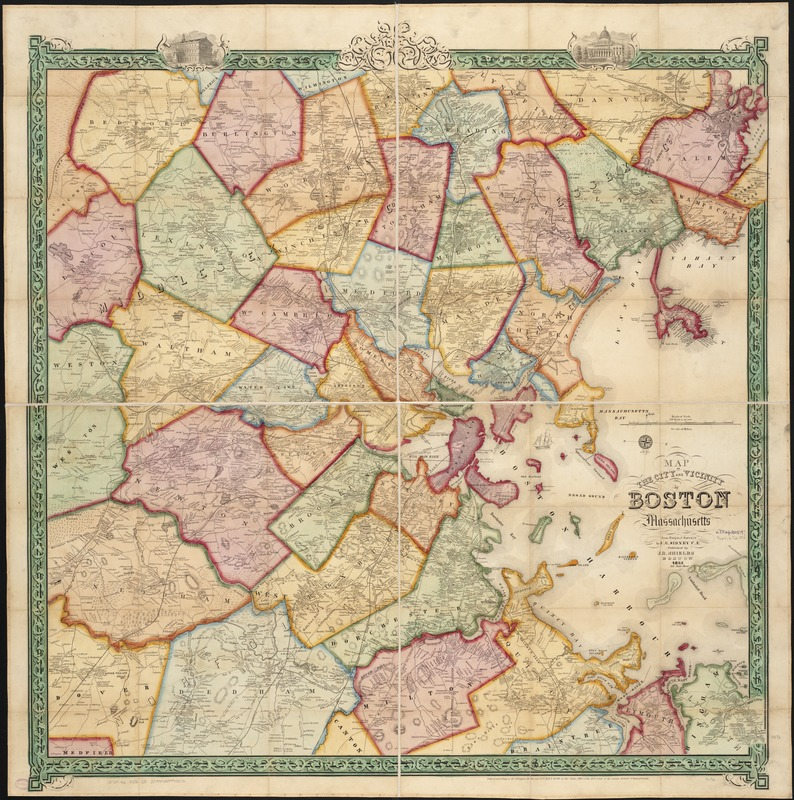 Map of the city and vicinity of Boston Massachusetts Norman B