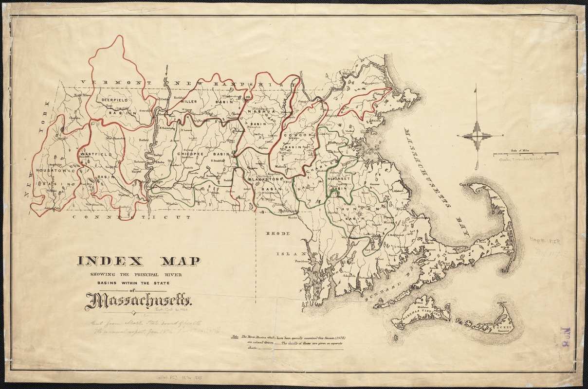 Index map showing the principal river basins within the state of Massachusetts