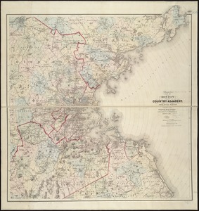Map of Boston and the country adjacent from actual surveys