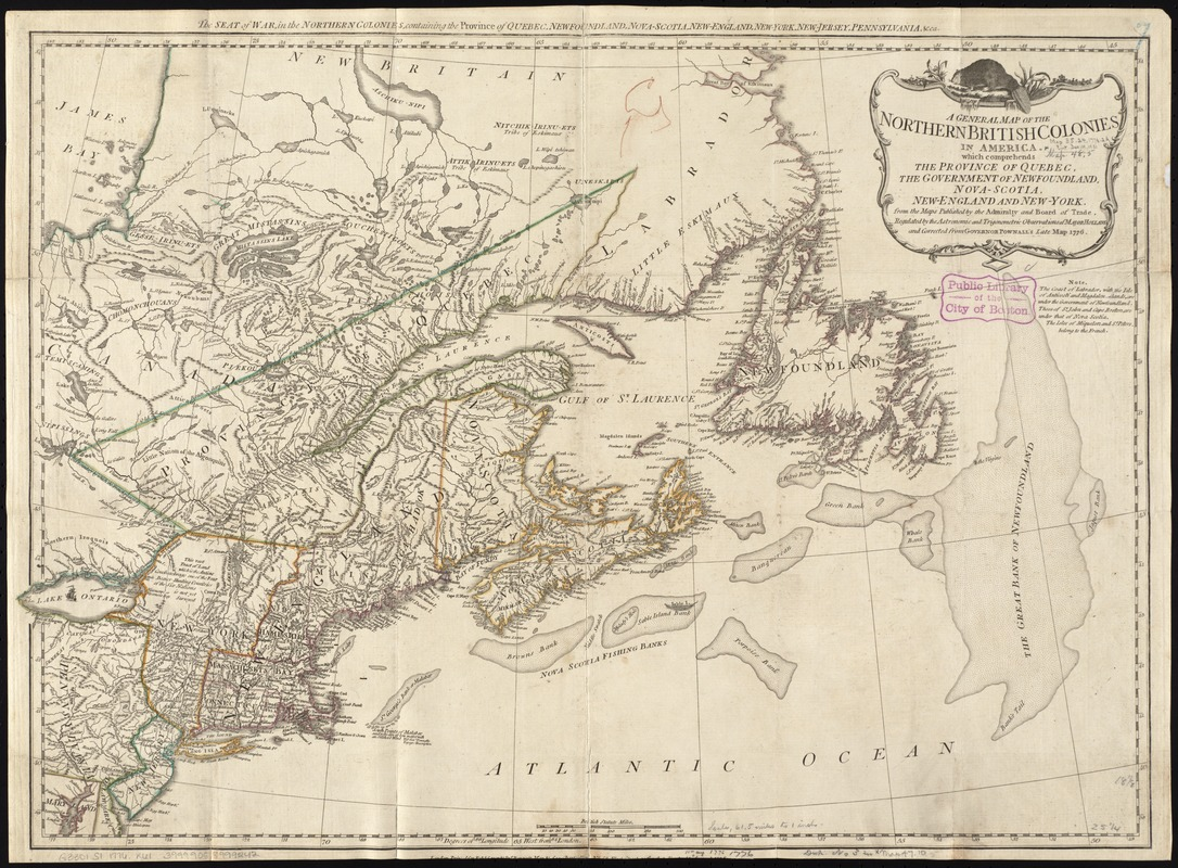 Map Of New England And Quebec.A General Map Of The Northern British Colonies In America