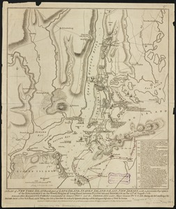A plan of New York Island, with part of Long Island, Staten Island & east New Jersey, with a particular description of the engagement on the Woody Heights of Long Island, between Flatbush and Brooklyn, on the 27th of August 1776