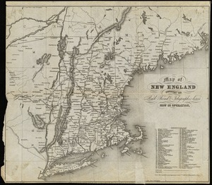 Map of New England exhibiting the rail road and telegraphic lines now in operation
