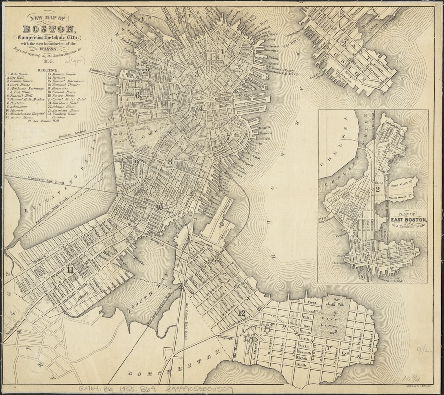 New map of Boston, comprising the whole city, with the new boundaries of the wards