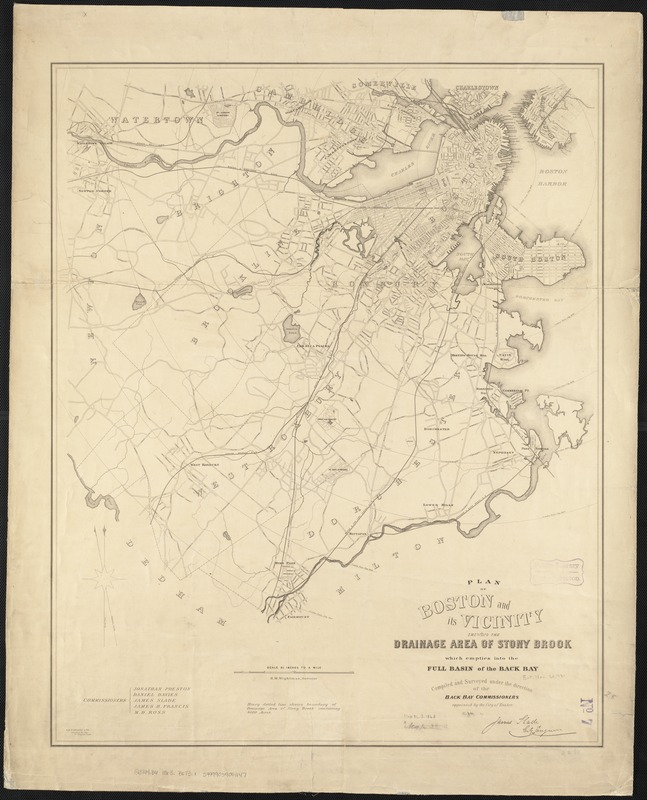 Plan of Boston and its vicinity, showing the drainage area of Stony Brook which empties into the full basin of the Back Bay