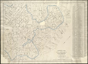 Historical map of the north and central parts of Old Boston with explanatory key
