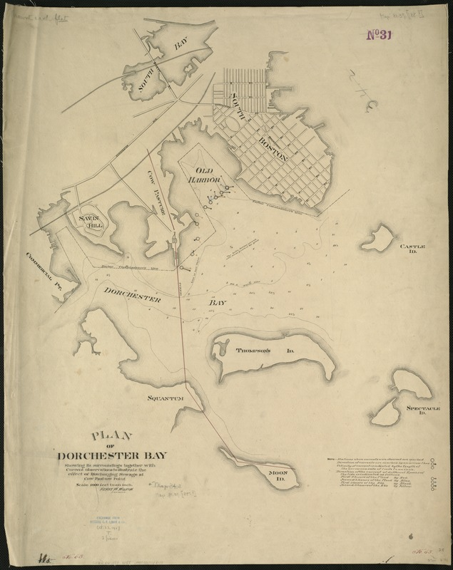 Plan of Dorchester Bay showing its surroundings together with current observations to illustrate the effect of discharging sewage at cow pasture point