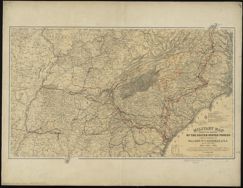 Military Map Showing The Marches Of The United States Forces Under - Us-map-1864