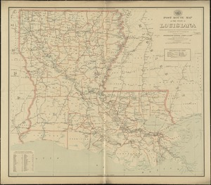 Post route map of the state of Louisiana showing post offices with the intermediate distances on mail routes in operation on the 1st. of December, 1897