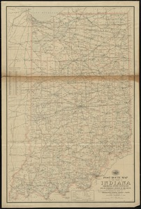 Post route map of the state of Indiana showing post offices with the intermediate distances on mail routes in operation on the 1st of December, 1903