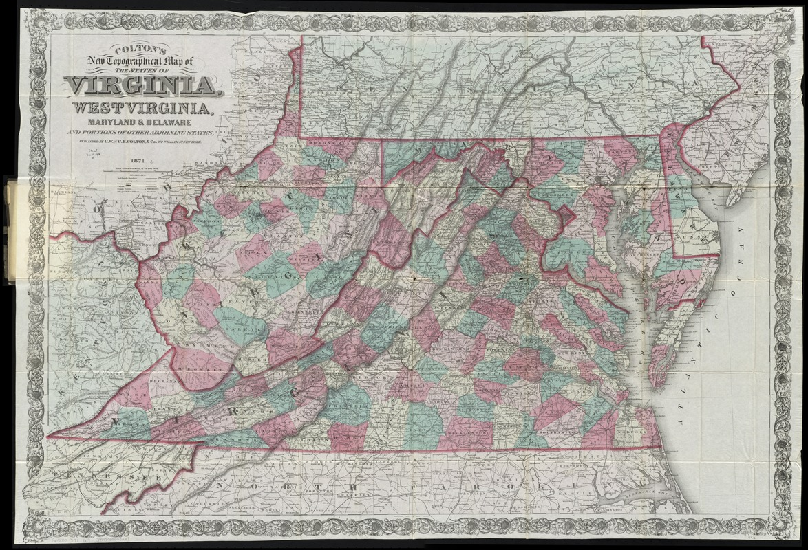 Colton's new topographical map of the states of Virginia, West Virginia, Maryland & Delaware and portions of other adjoining states