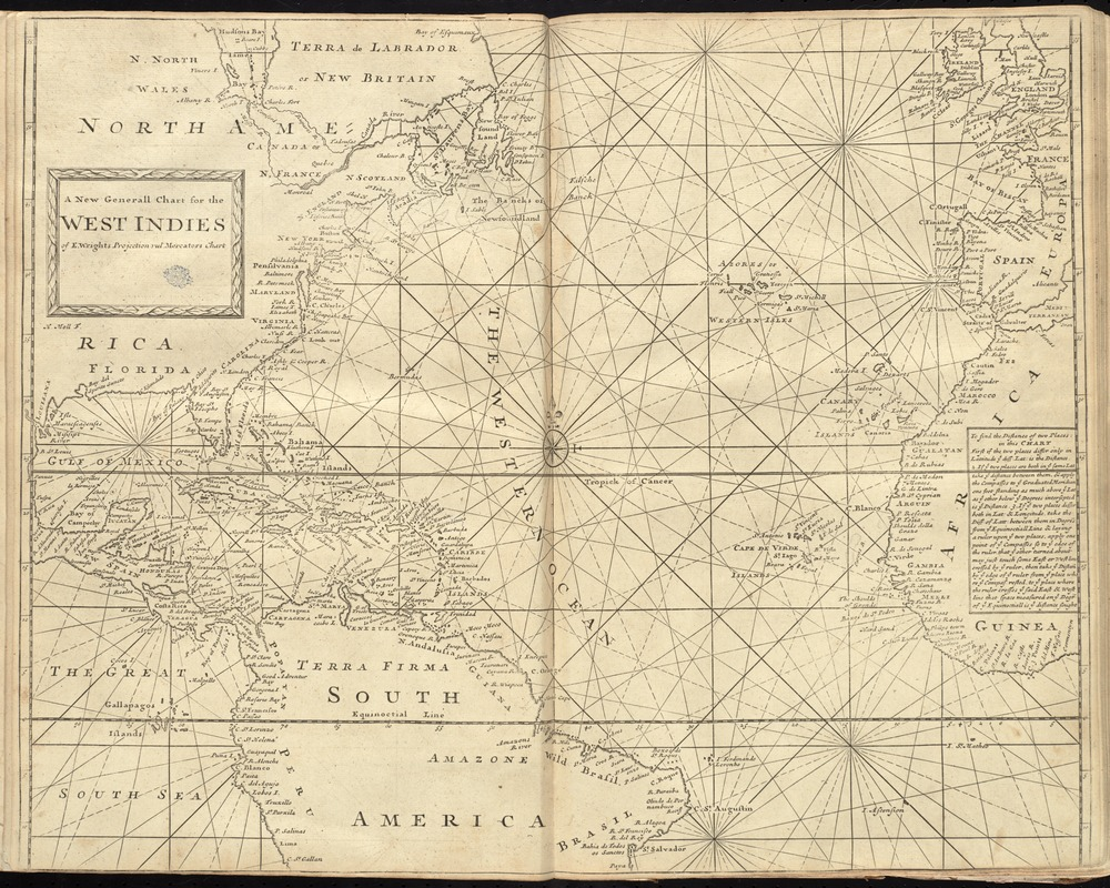 A new generall chart for the West Indies of E. Wrights projection vul. Mercators chart