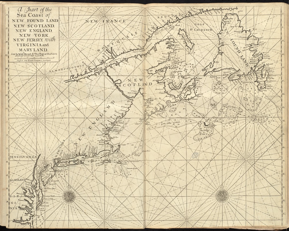 A chart of the sea coast of New Found Land, New Scotland, New England, New York, New Jersey, with Virginia and Maryland
