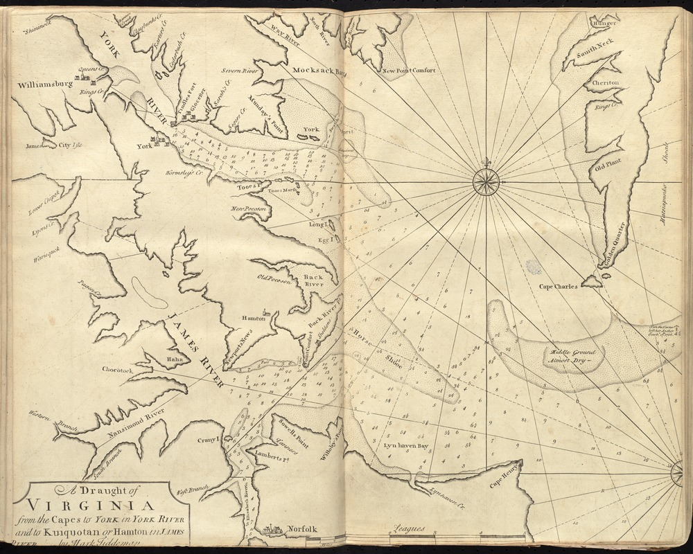 A draught of Virginia from the Capes to York in York River and to Kuiquotan or Hamton in James River