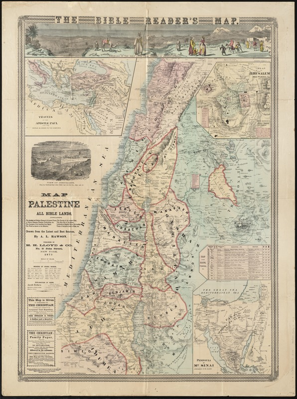 Map Of Palestine And All Bible Lands Containing The Ancient And