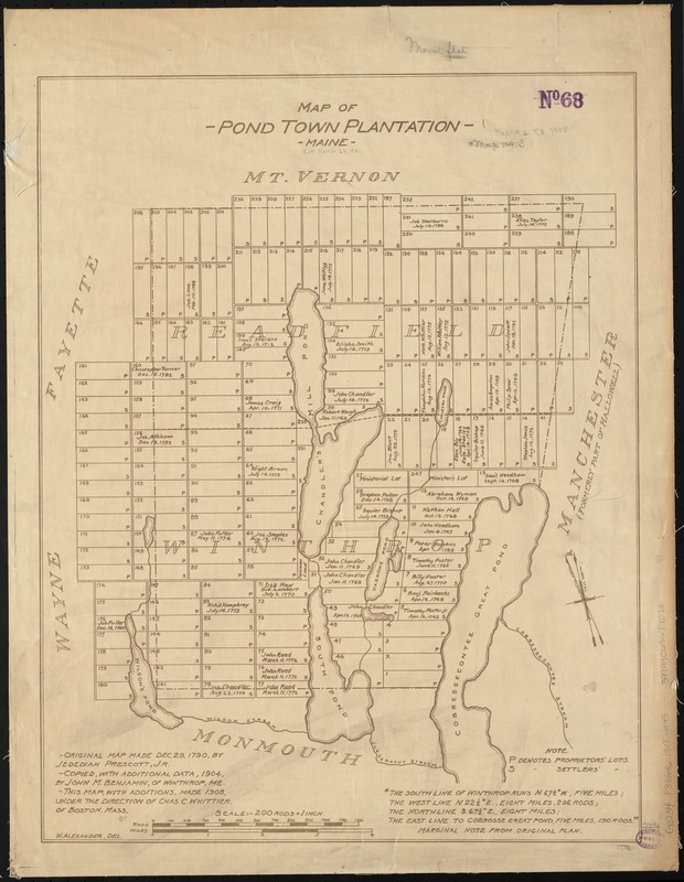 Map of Pond Town Plantation, Maine