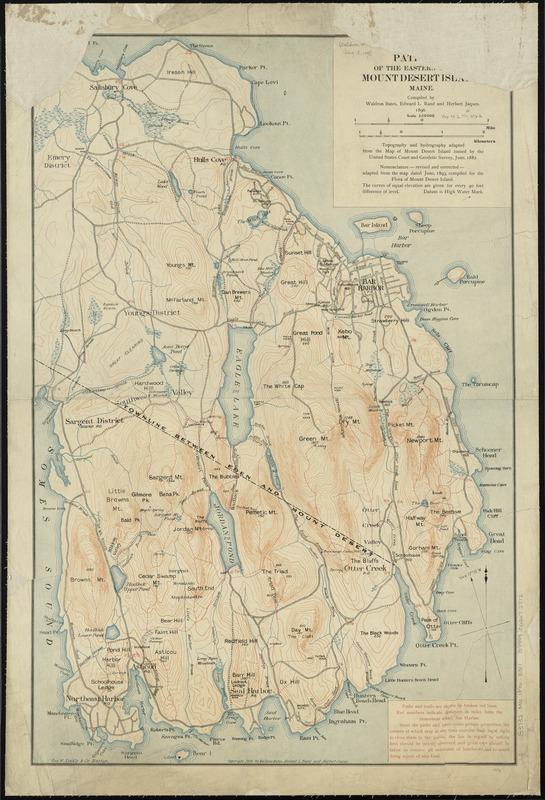 Path map of the eastern part of Mount Desert Island, Maine