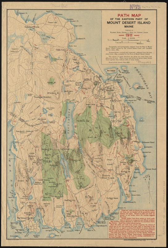 Path map of the Eastern part of Mount Desert Island Maine